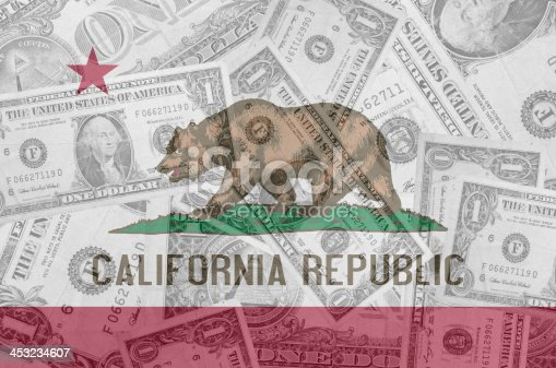 transparent united states of america state flag of california with dollar currency in background symbolizing political, economical and social government