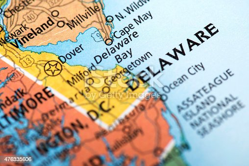 State of Delaware State, US. Detail from the World Map.