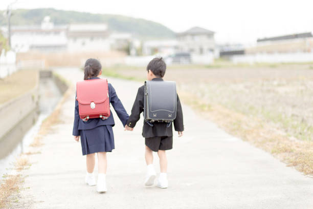 A state of elementary school students in Japan coming to school. stock photo