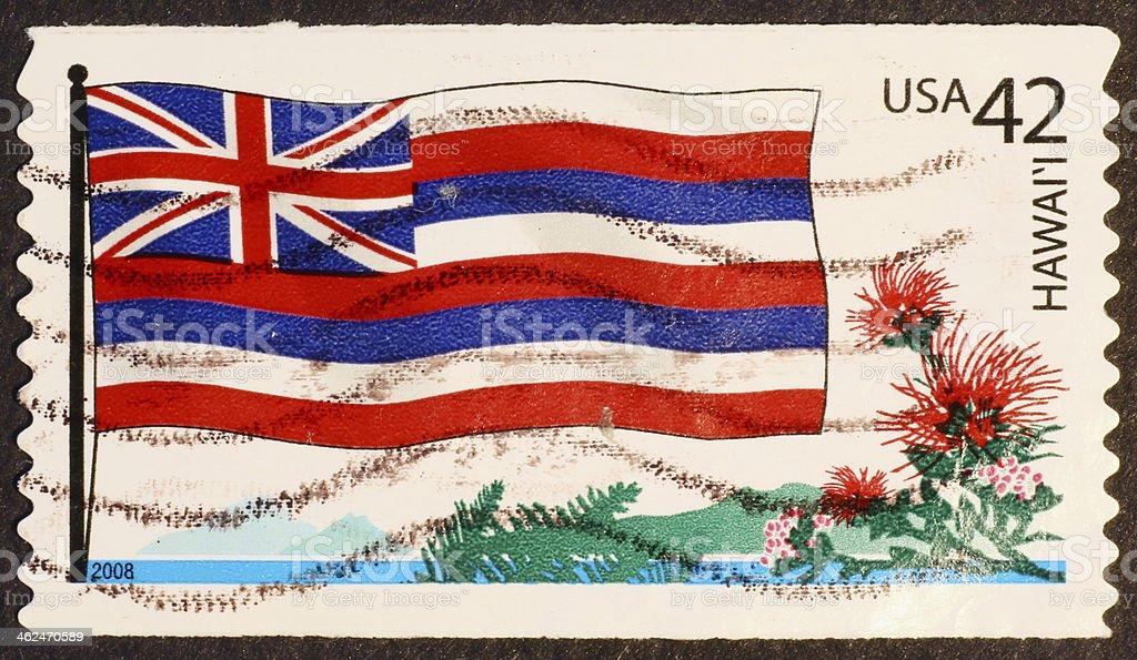 Bandeira do estado do Havaí & flores sobre carimbo - foto de acervo