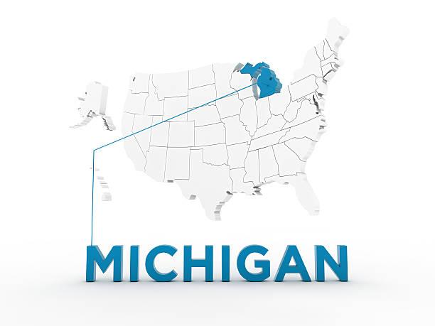 usa, state of michigan - karten de stock-fotos und bilder