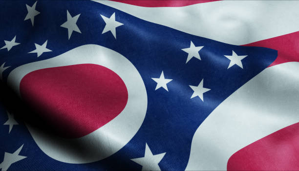 State of Ohio Waving Flag in 3D 3D Illustration of a waving flag of Ohio ohio stock pictures, royalty-free photos & images