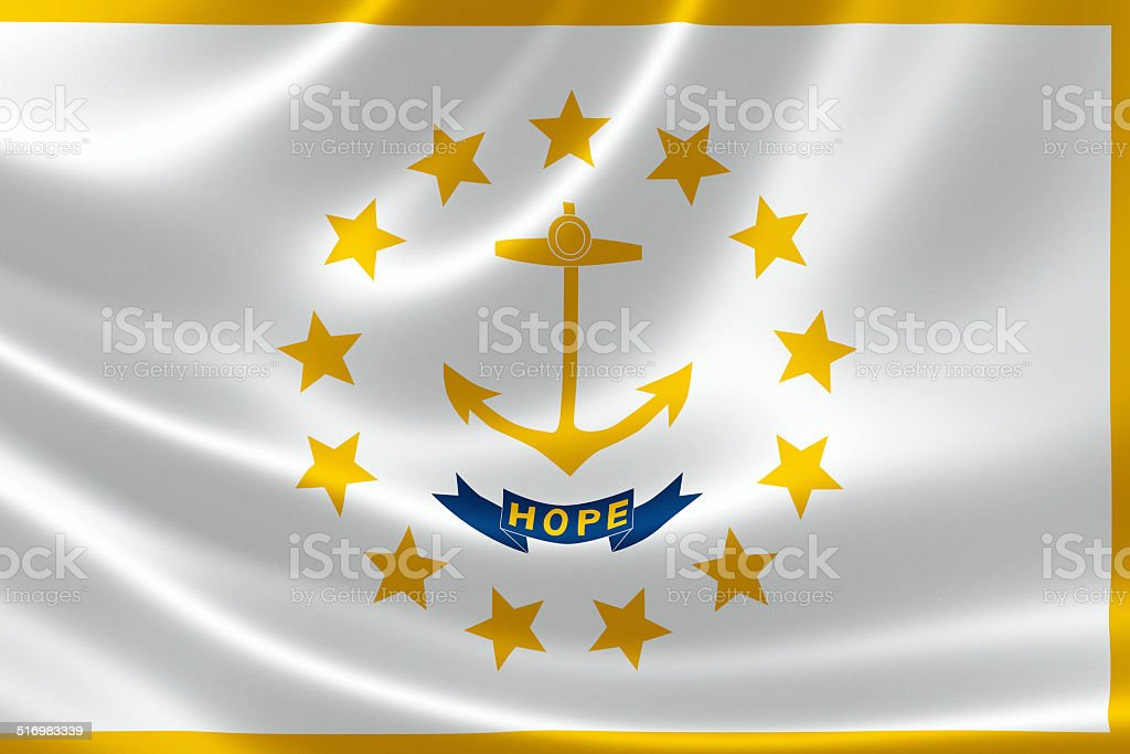 State of Rhode Island and Providence Plantations Flag stock photo