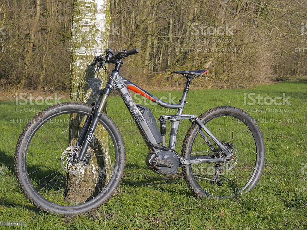 State of the art electric powered mountain bike stock photo