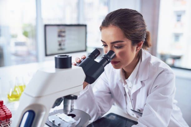 state of the art science equipment - microscope stock photos and pictures