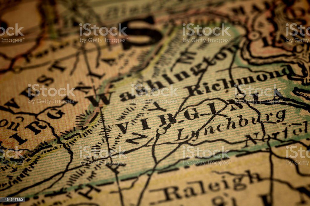 State of Virginia on an old map stock photo