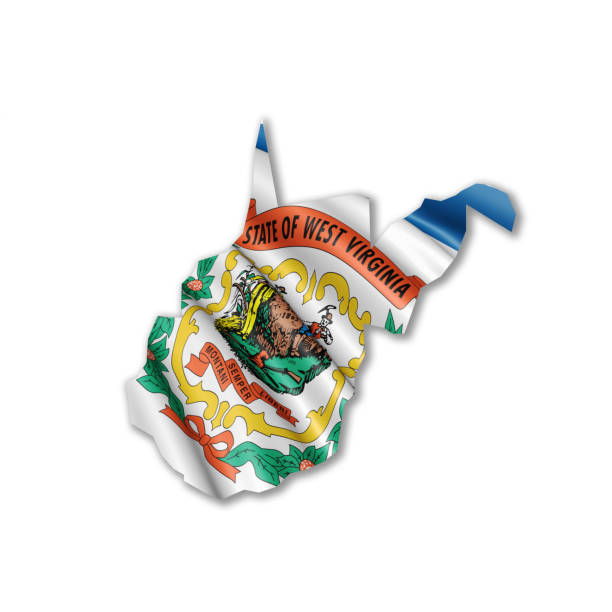 US state of West Virginia outline flag A stock photo of US state of West Virginia outline with a rendered state flag inside. west virginia us state stock pictures, royalty-free photos & images
