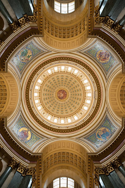 State of Wisconsin Capital Dome An interior view of the capital dome in Madison, Wisconsin wisconsin state capitol stock pictures, royalty-free photos & images