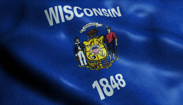 State of Wisconsin Flag in 3D 3D Illustration of a waving flag of Wisconsin wisconsin stock pictures, royalty-free photos & images