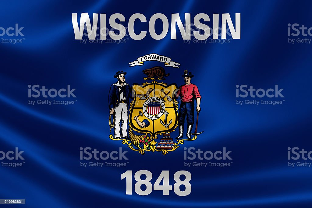 State of Wisconsin Flag stock photo