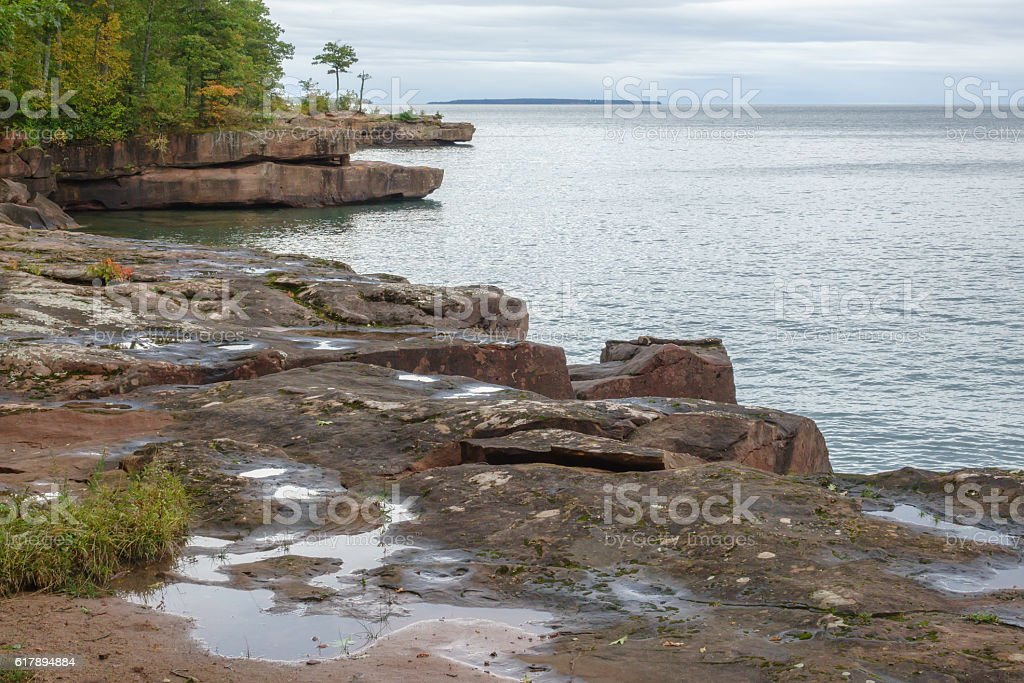 State park shoreline along Lake Superior stock photo