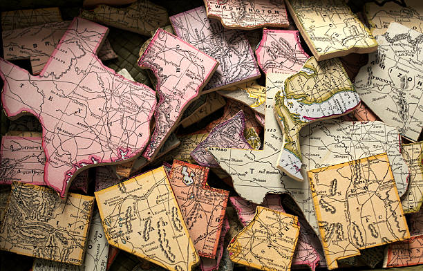 estado rompecabezas - us map fotografías e imágenes de stock