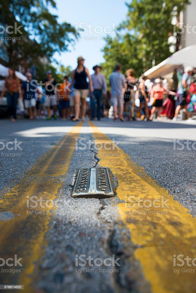 State Street in Bristol, Tennessee and Virginia stock photo
