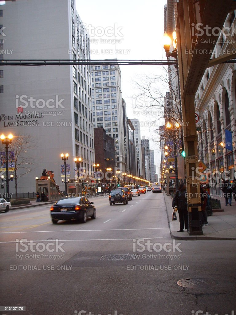 S State Street in Chicago, IL. stock photo