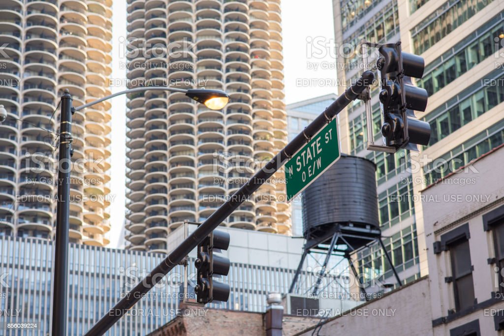 State street sign in front of Marina Towers in Chicago stock photo