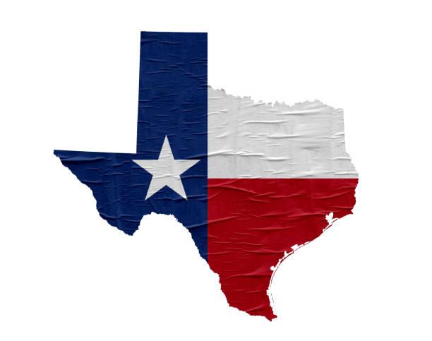 US-Staat Texas Karte mit Flagge auf alten Papier-design – Foto