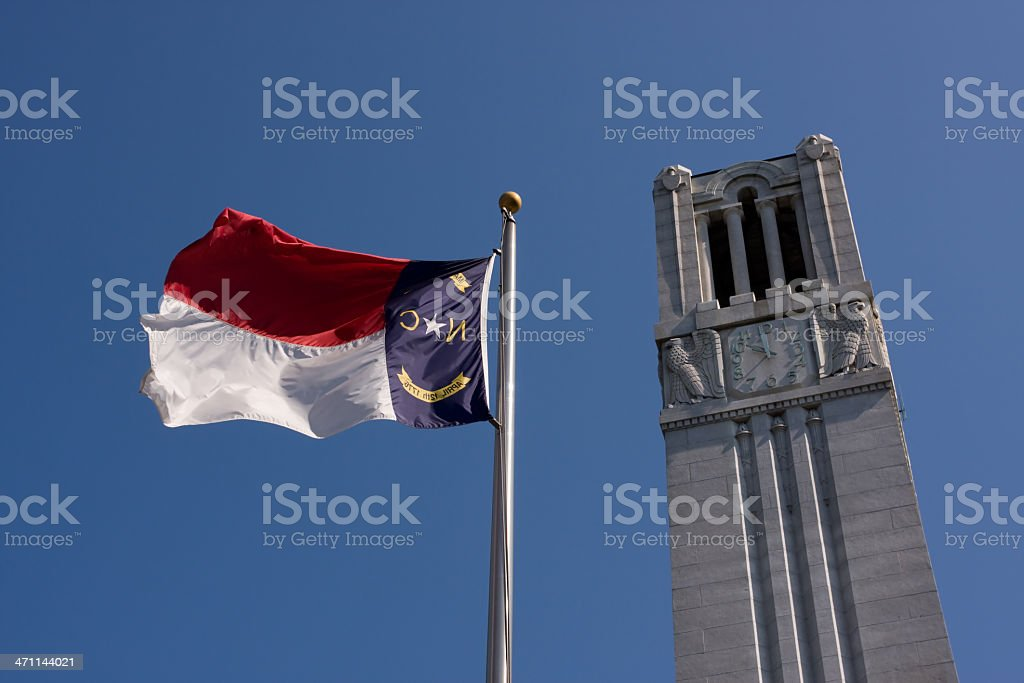 NC State Tower and Flag stock photo