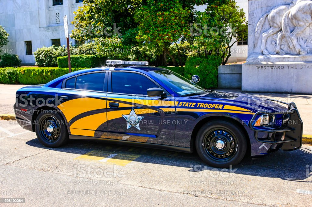 State Trooper vehicle outside the State Capitol building in Salem, OR, USA stock photo