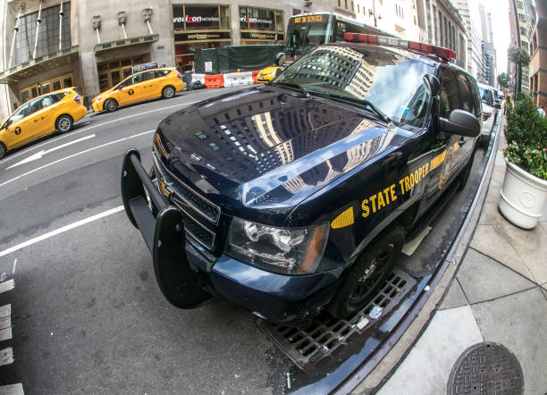 NY State Trooper vehicle. New York, August 12, 2016: A police State Trooper car is parked near Grand Central station in Manhattan. trooper stock pictures, royalty-free photos & images