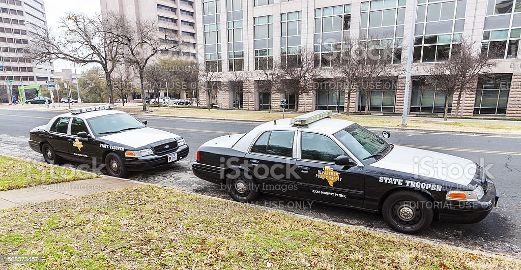 State troopers cars parked in University of Texas campus. stock photo