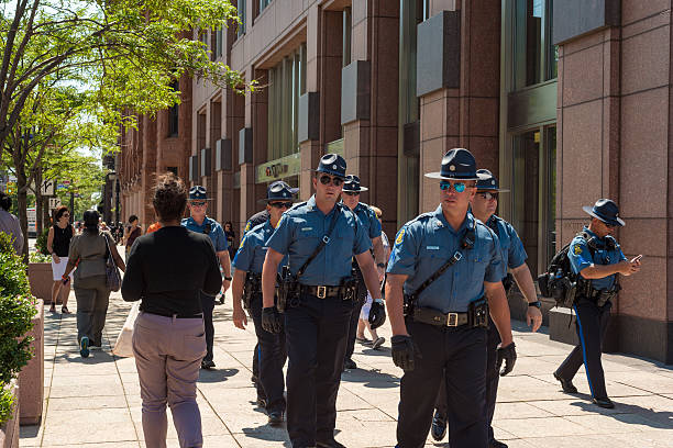 State troopers Cleveland, United States - July 20, 2016: Missouri state patrolmen are part of the multistate contingent of security forces keeping the peace during the Republican National Convention. trooper stock pictures, royalty-free photos & images