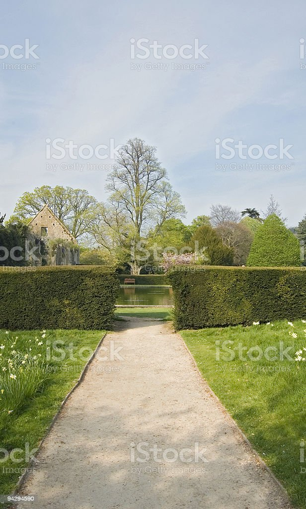 Stately garden and pond. royalty-free stock photo