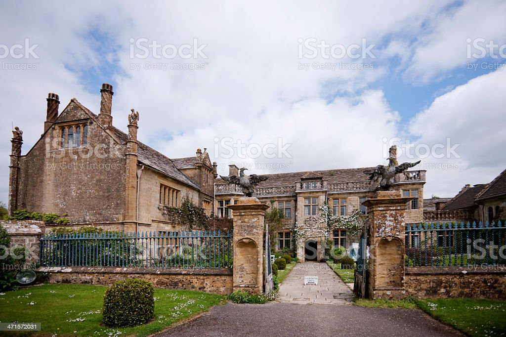 Stately home gate stock photo