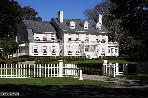 One of the beautiful mansions in the Hamptons out on Long Island.