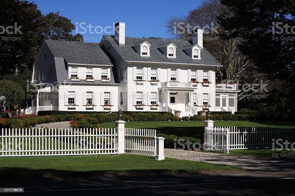 Stately Long Island mansion stock photo