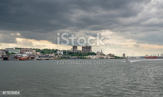 NEW YORK, NY - 5 JUNE 2018: Orange painted Staten Island Ferry docked at the island