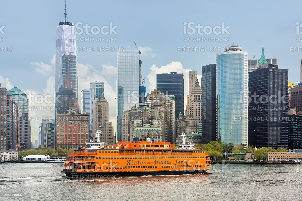 Staten Island Ferry on the New York Harbor stock photo
