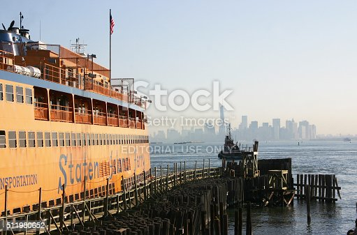 New York City, USA - August 24, 2015: Ferry is waiting for passangers at Staten Island, one of the five boroughs of New York City.