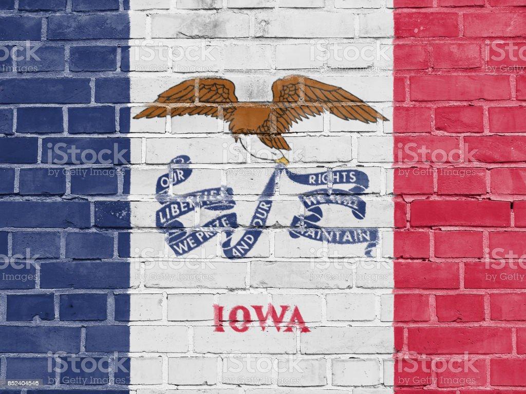 US States Concept: Iowa Flag Wall Background Texture stock photo