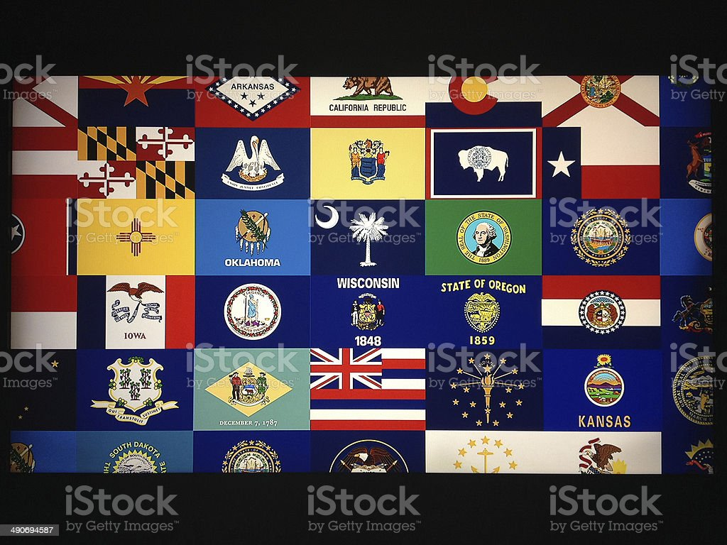 US states flags stock photo