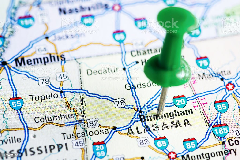 USA states on map: Alabama stock photo
