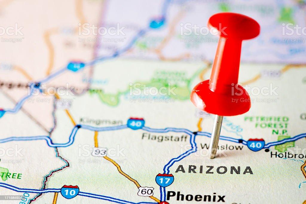 USA states on map: Arizona stock photo