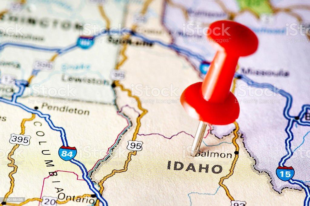 USA states on map: Idaho stock photo