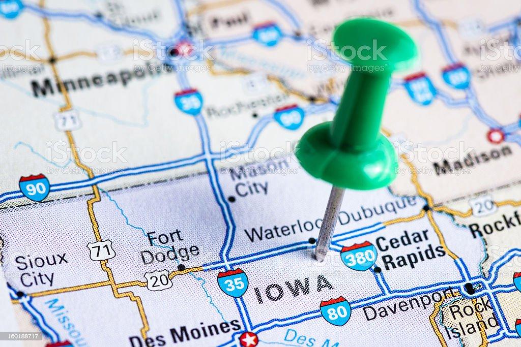 USA states on map: Iowa royalty-free stock photo