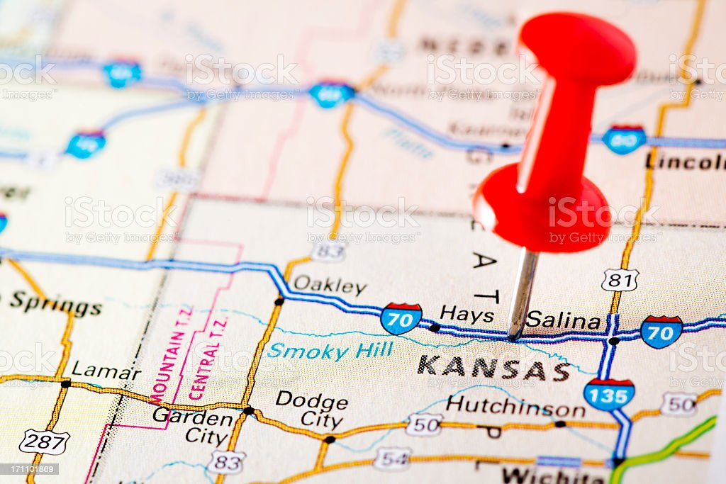 USA states on map: Kansas royalty-free stock photo