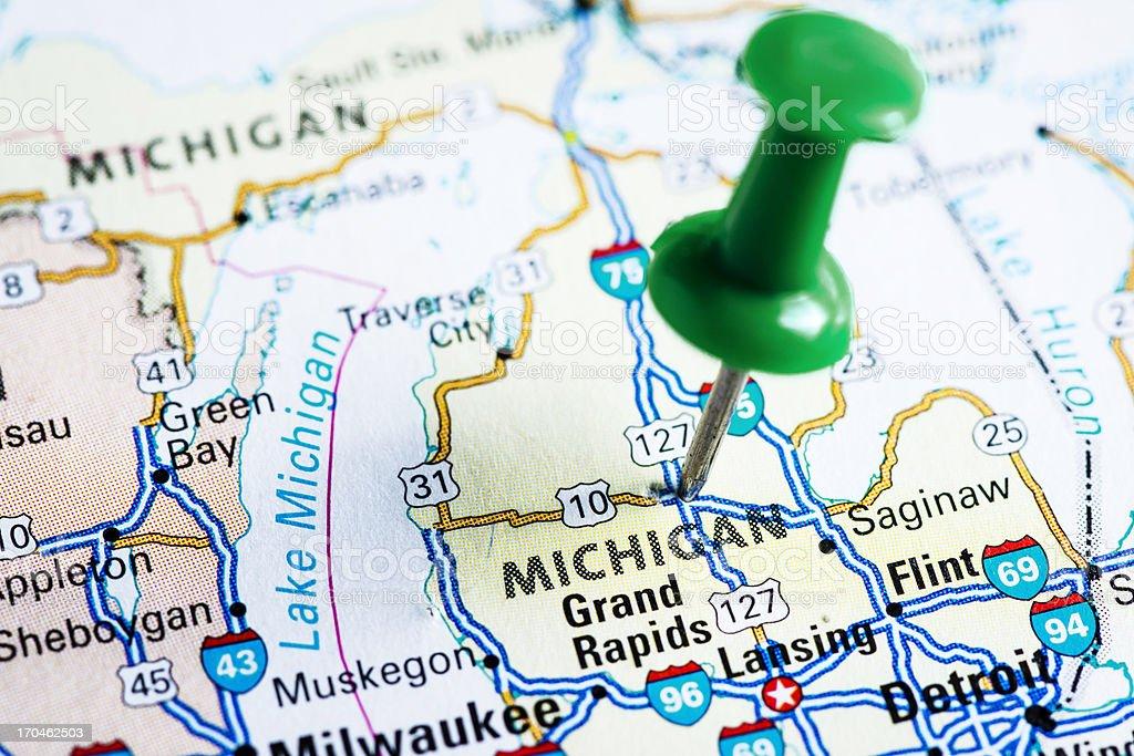 De Estados Unidos En El Mapa Michigan Fotografía De Stock Y Más - Mapa de michigan