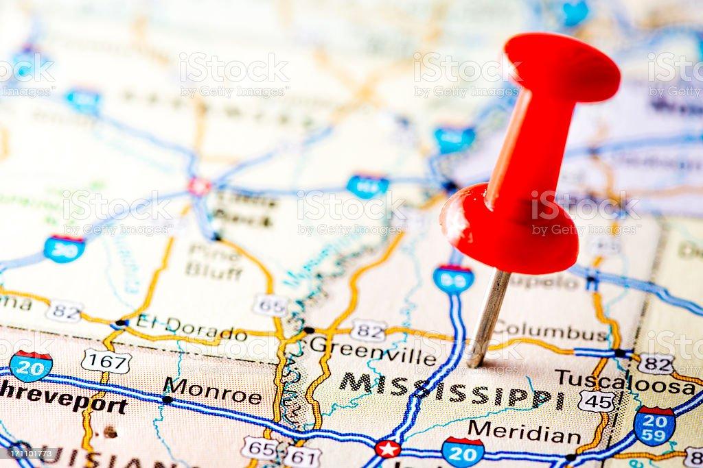 USA states on map: Mississippi stock photo