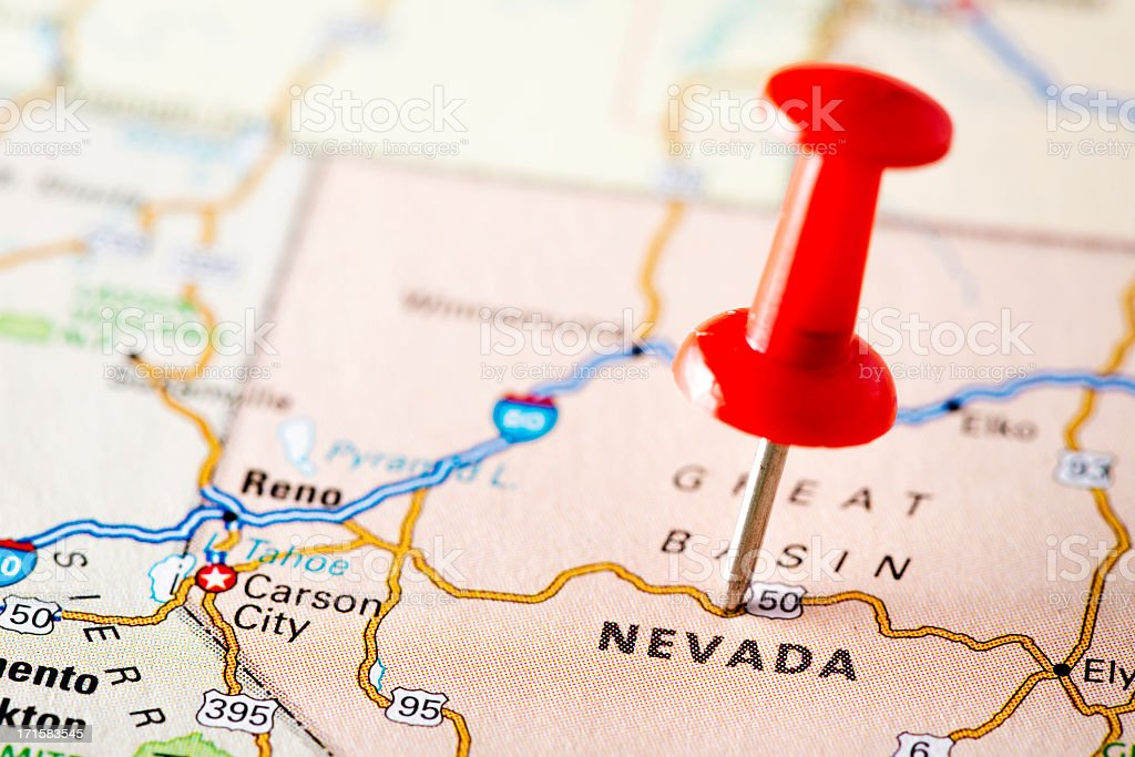 USA states on map: Nevada stock photo