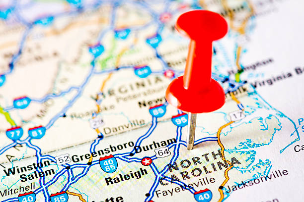 USA states on map: North Carolina USA states on map: North Carolina north carolina us state stock pictures, royalty-free photos & images
