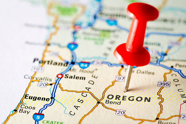 USA states on map: Oregon USA states on map: Oregon oregon us state stock pictures, royalty-free photos & images