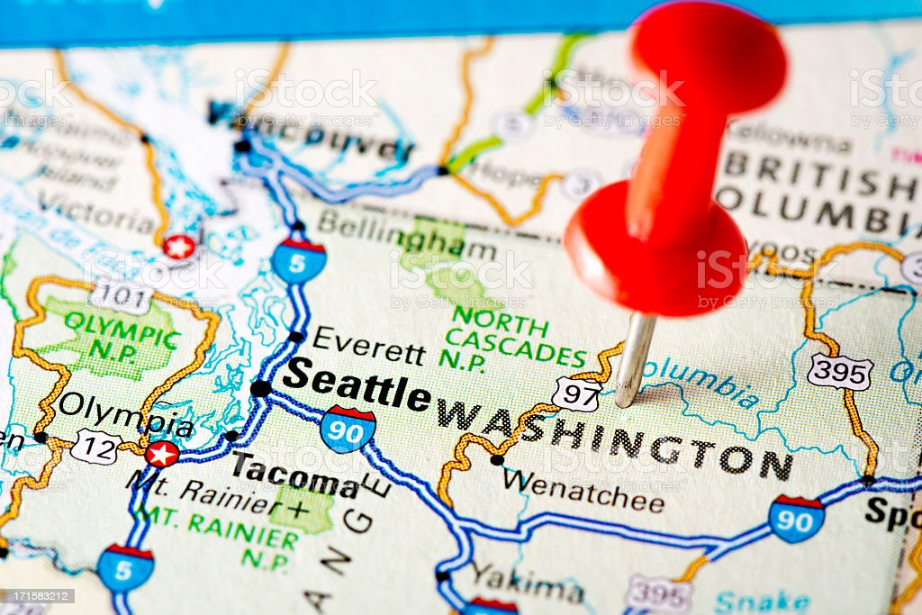 USA states on map: Washington royalty-free stock photo