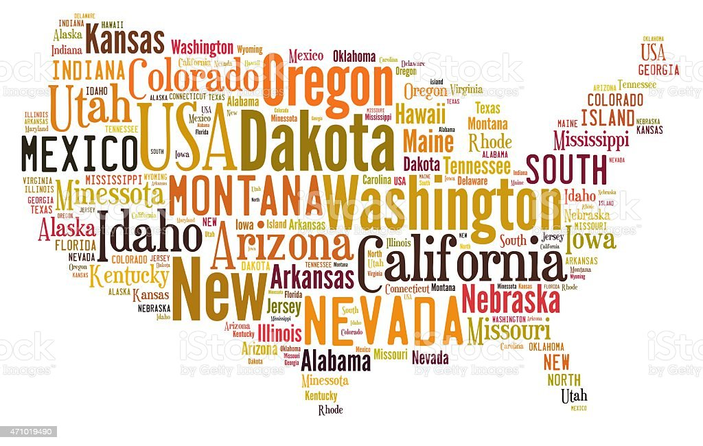 US states. stock photo