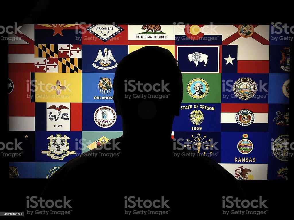 US states profile stock photo