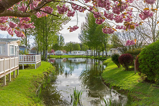 Static Caravans Static Caravans with Sakura in a Holiday Park trailer park stock pictures, royalty-free photos & images