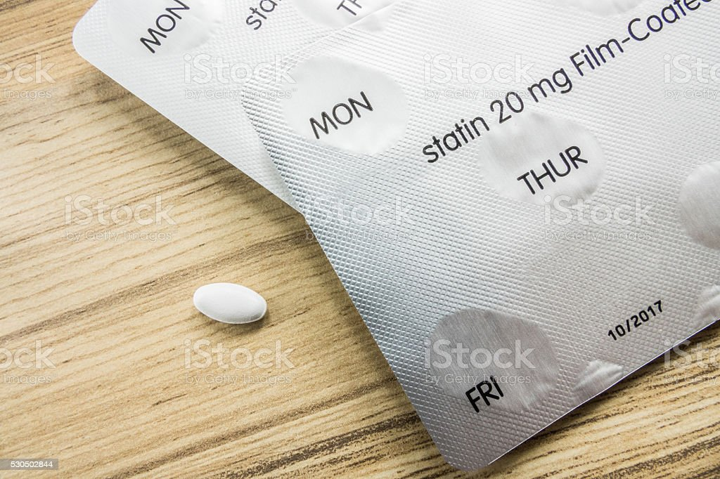 Statin tablets stock photo