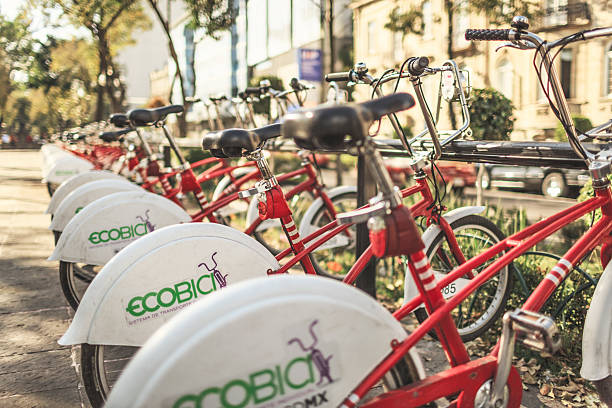 ECOBICI Station At Central Promenade In Mexico City stock photo